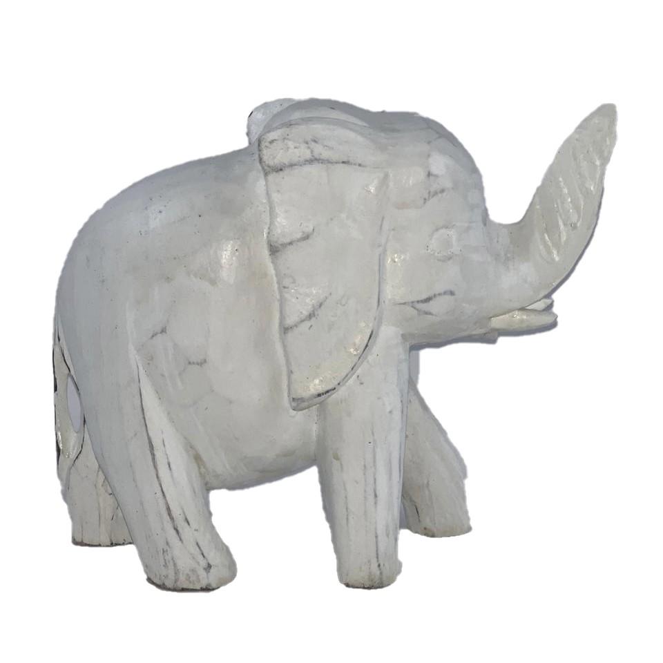 Escultura Elefante em Madeira Albésia em Pátina Branca (15x20x7cm)