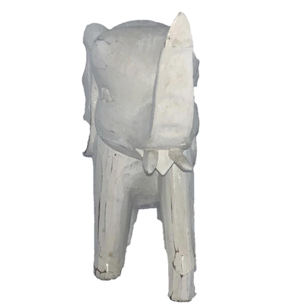 Escultura Elefante em Madeira Albésia em Pátina Branca (19x23x8cm)