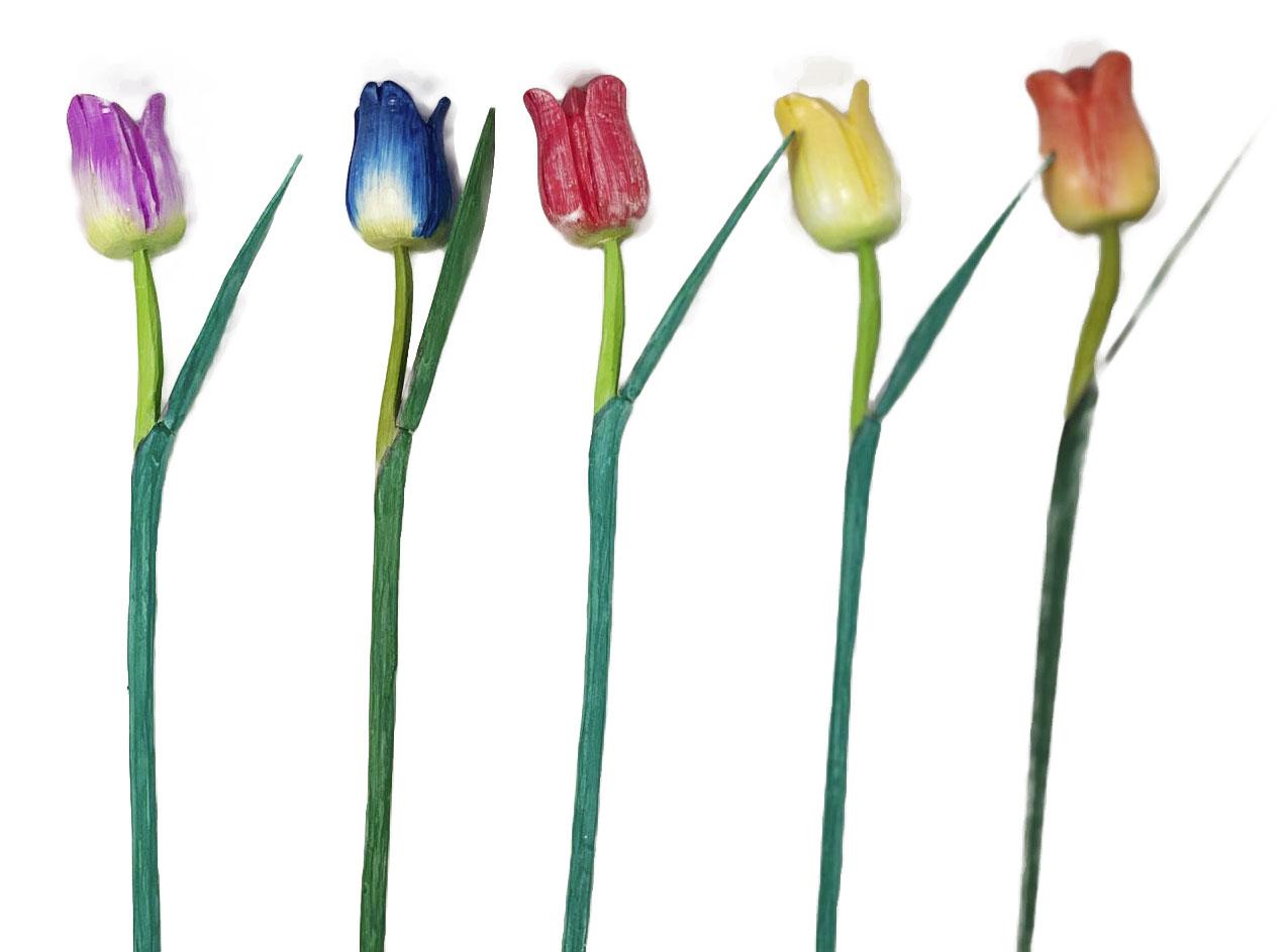 Escultura Flor de Tulipa com Pintura Acrílica Patinada em Tom Pastel ( 50 cm ) Aberta *PROMOÇÃO: 03 POR R$22*