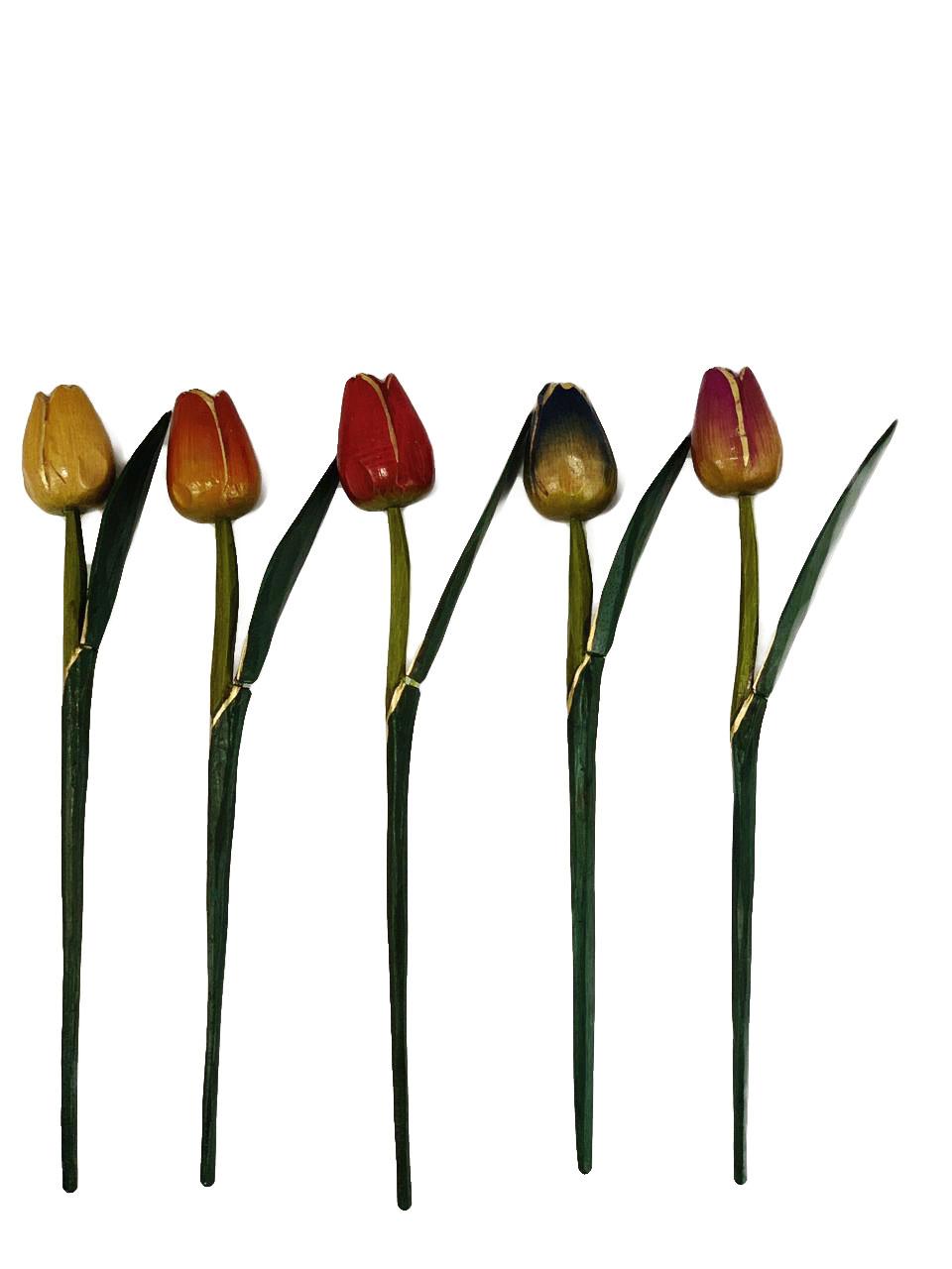 Escultura Flor de Tulipa com Pintura Envelhecida ( 30 cm ) Fechada *PROMOÇÃO: 03 POR R$18*