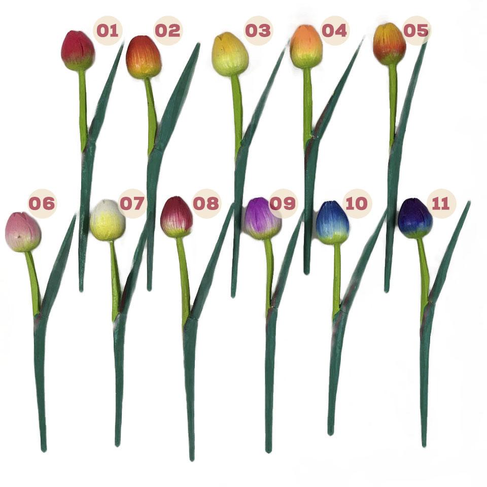 Escultura Flor de Tulipa com Pintura Acrílica Colorida ( 20 cm ) Fechada  *PROMOÇÃO: 04 POR R$10*
