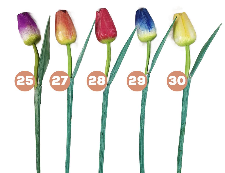 Escultura Flor de Tulipa com Pintura Acrílica Patinada em Tom Pastel ( 50 cm ) Fechada *PROMOÇÃO: 03 POR R$22*