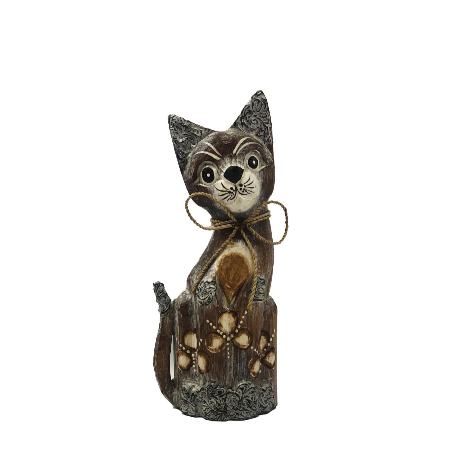 Escultura Gato em Madeira Albésia ( 10cm )