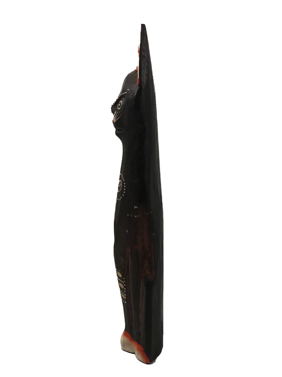 Escultura Gato em Madeira Albésia ( 30cm )