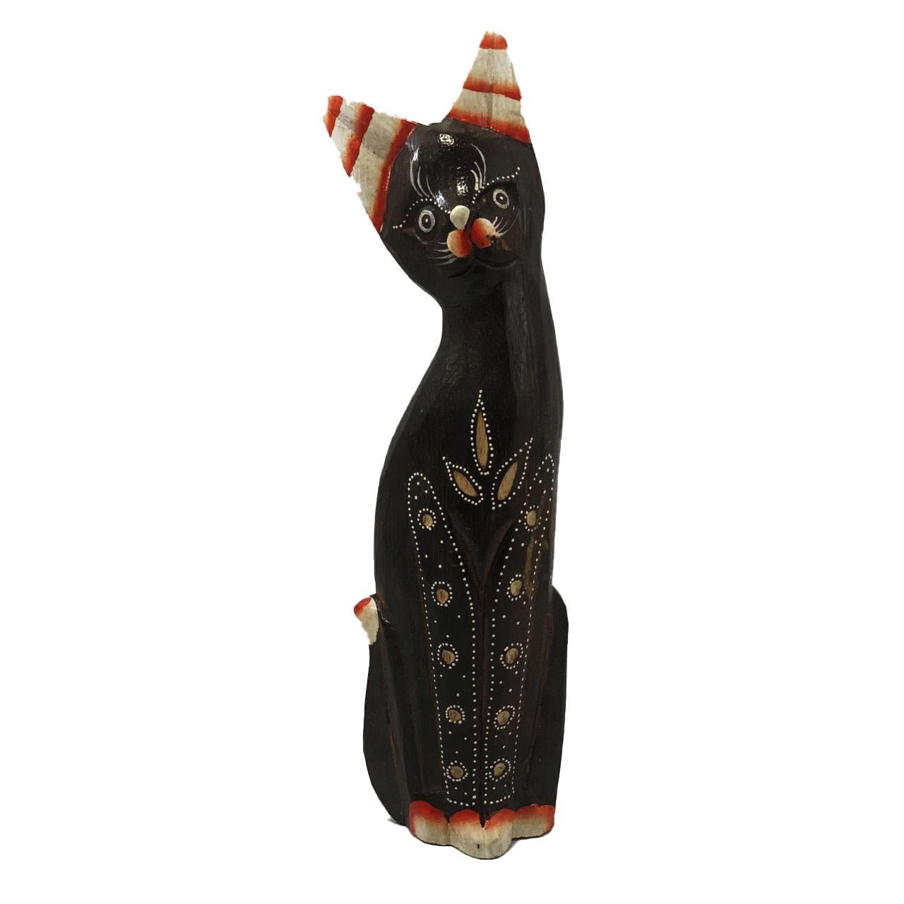 Escultura Gato em Madeira Albésia ( 35cm )