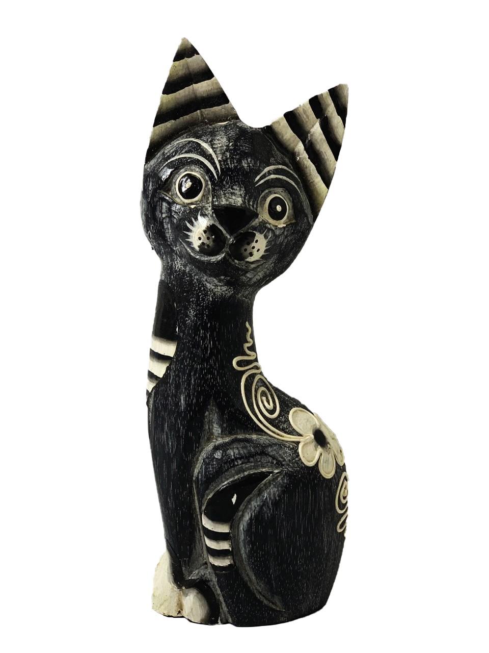 Escultura Gato em Madeira Albésia em Preto, Cinza e Branco ( 25cm )