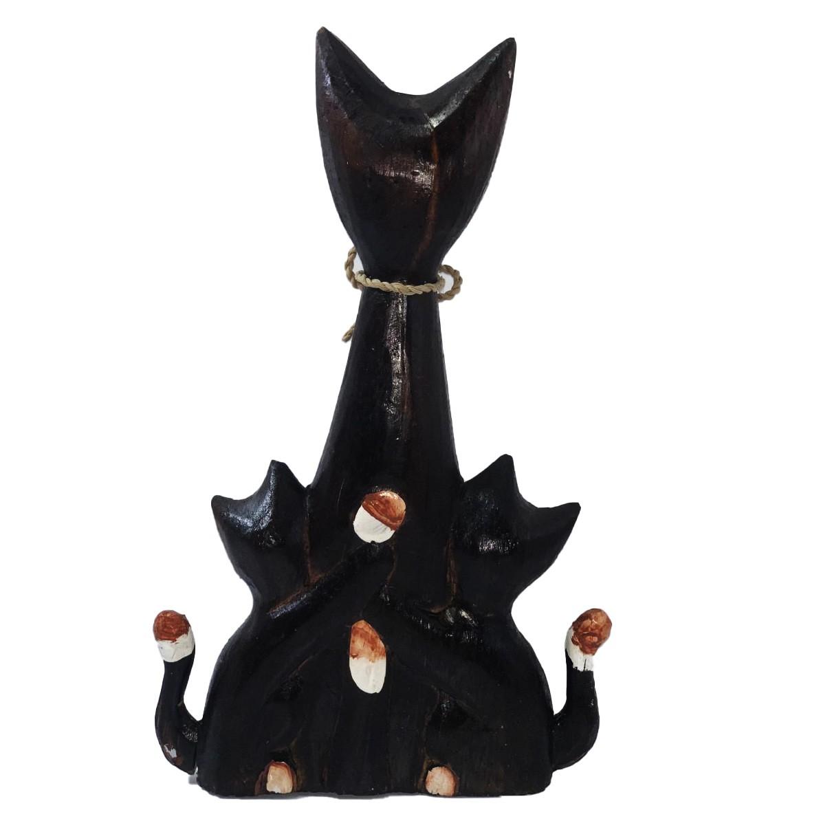 Escultura Gato em Madeira Albésia (Família) ( 30x6x18cm )