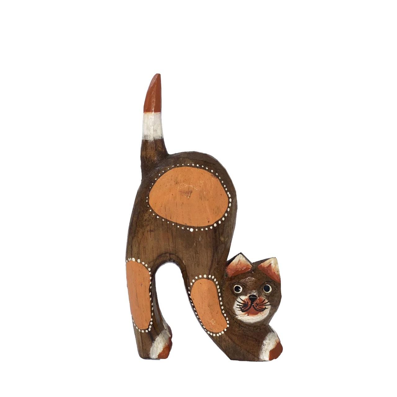 Escultura Gato em Madeira Albésia tonalizada a fogo ( 20x11cm )