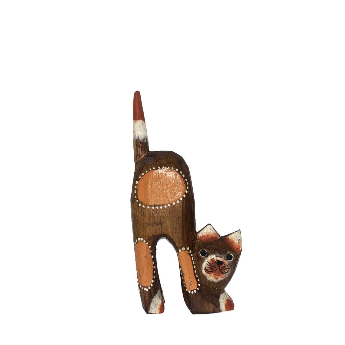 Escultura Gato em Madeira Albésia tonalizada a fogo ( 16x07cm )