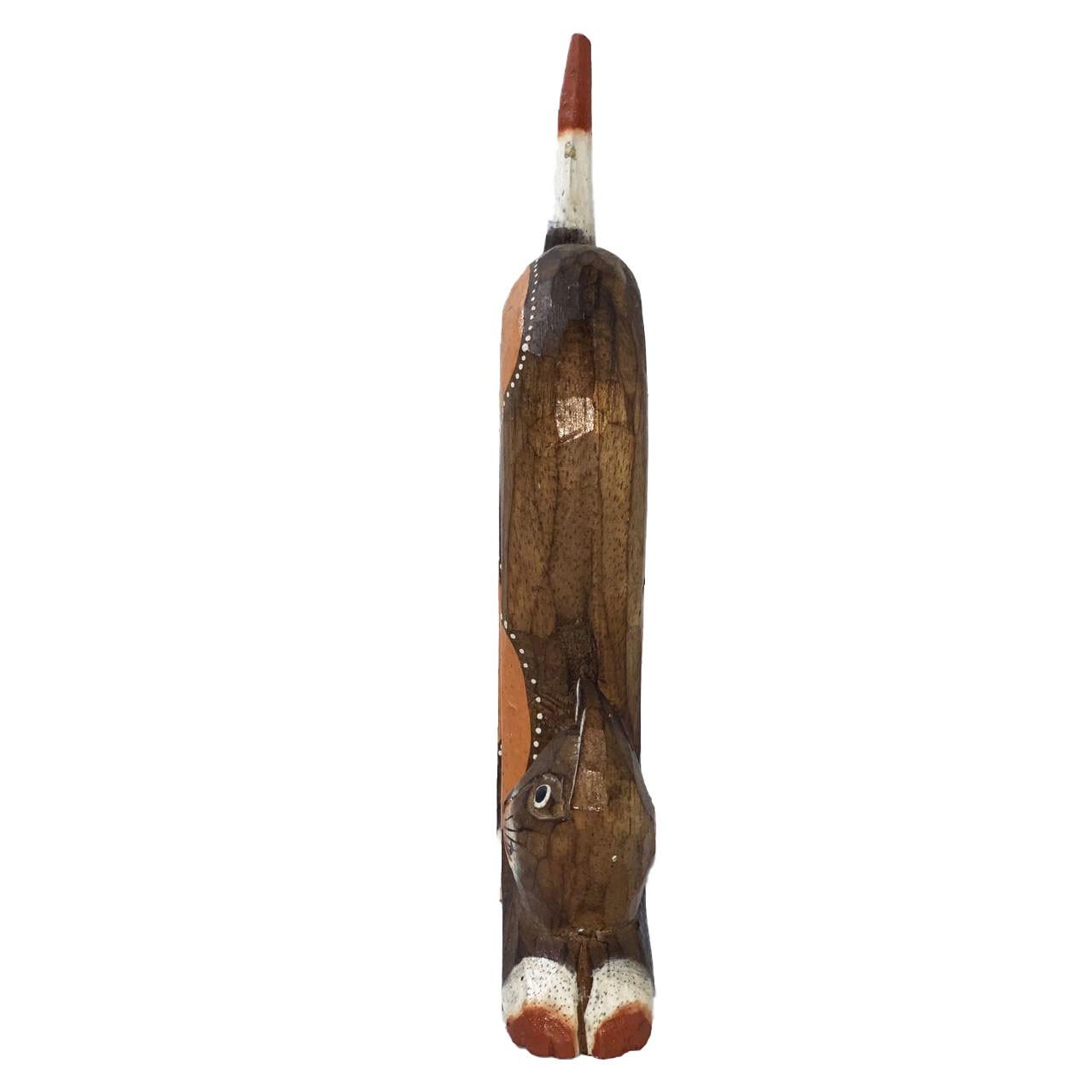 Escultura Gato em Madeira Albésia tonalizada a fogo ( 26x12cm )