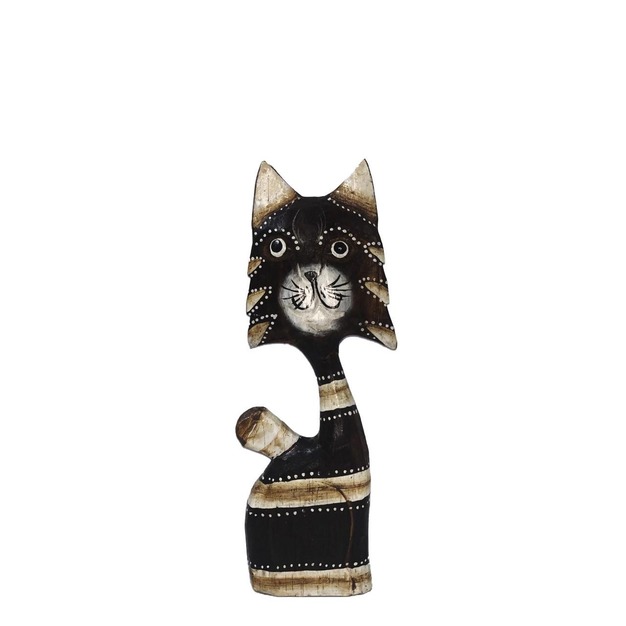 Escultura Gato Listrado em Madeira Albésia ( 22cm )