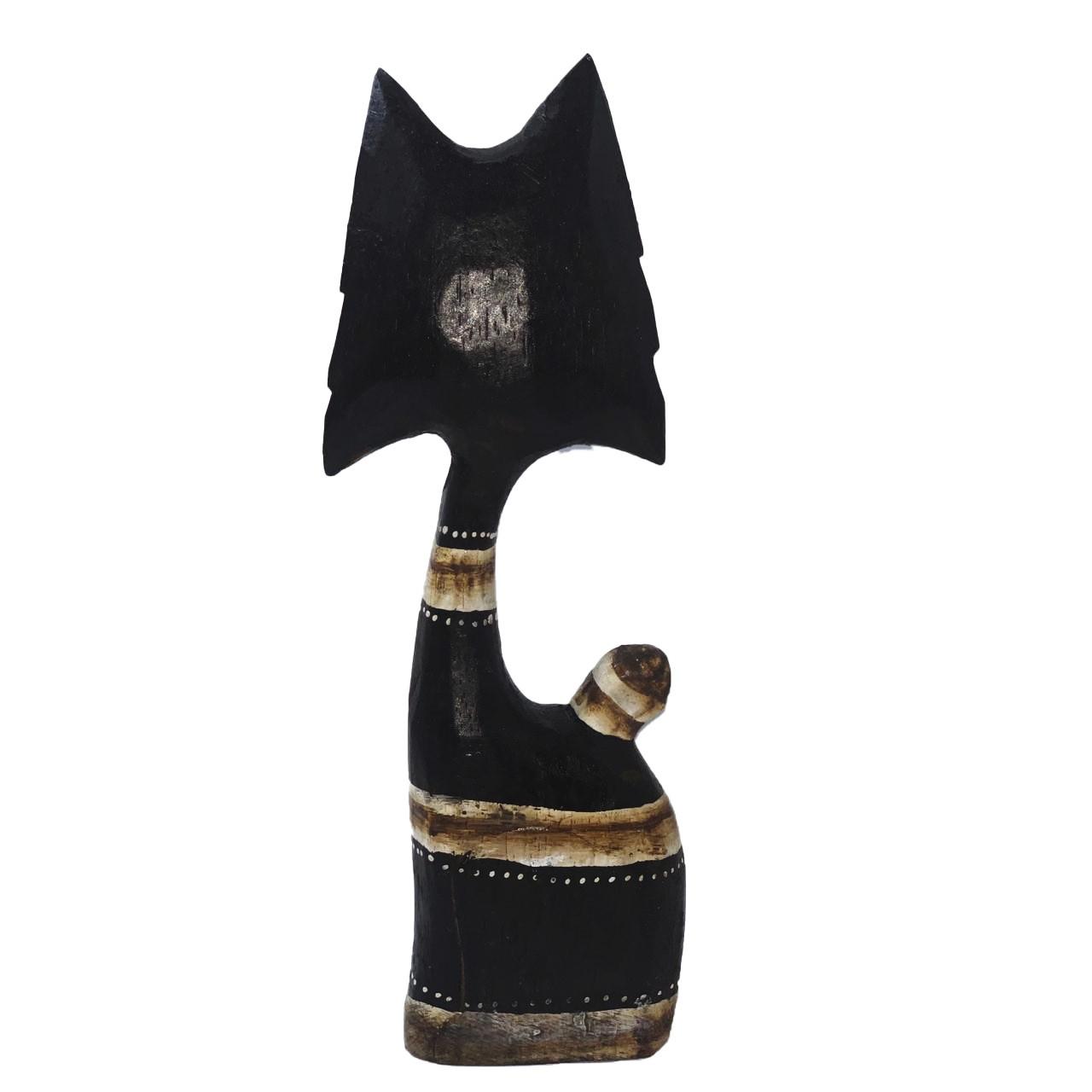 Escultura Gato Listrado em Madeira Albésia ( 26cm )
