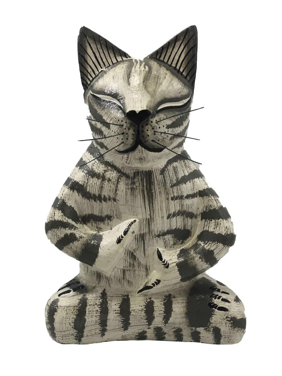 Escultura Gato Meditando em Madeira Albésia ( 20cm )