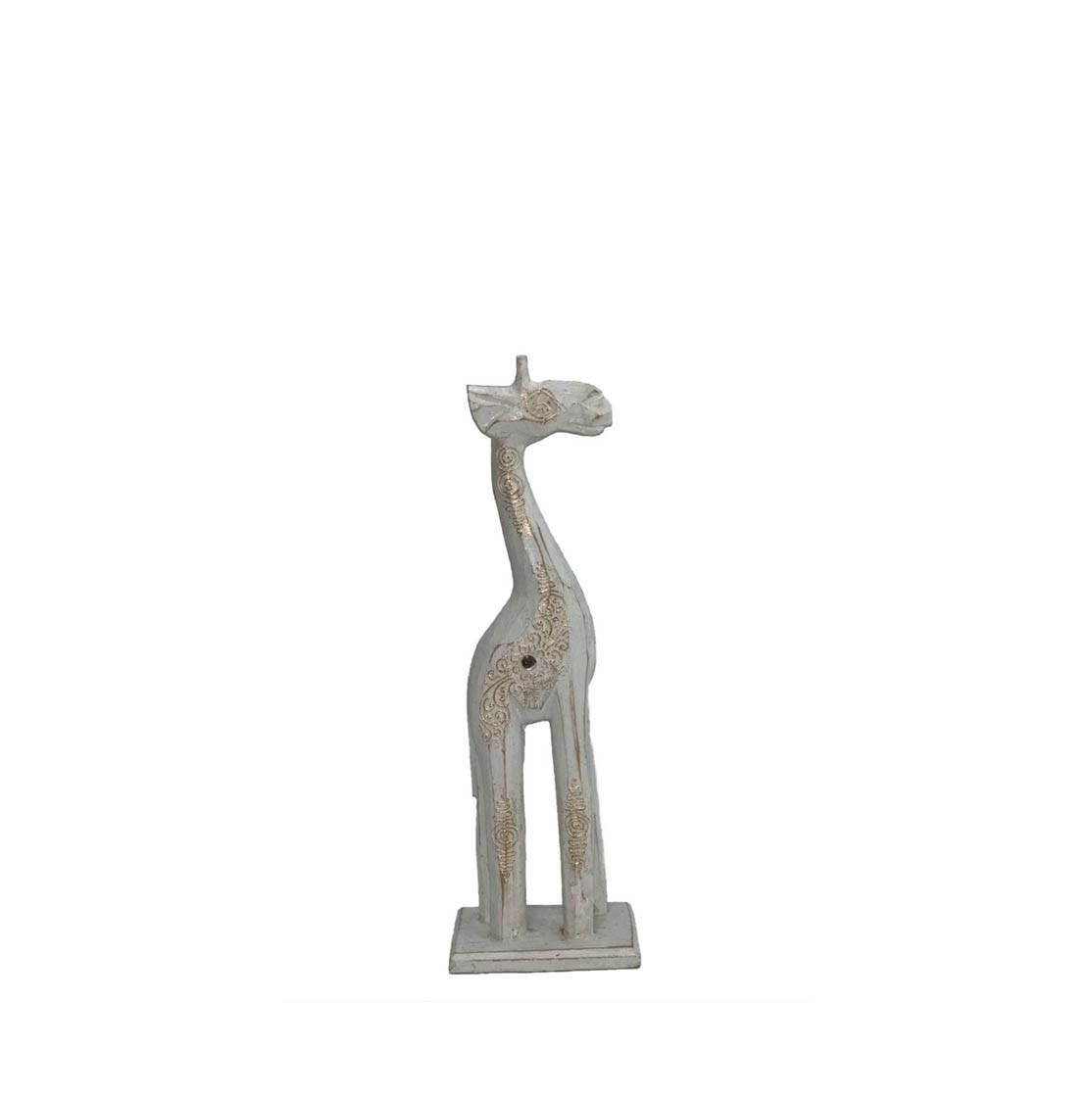 Escultura Girafa em Madeira Albésia com acabamento em Pátina Branca ( 30x6x10cm )