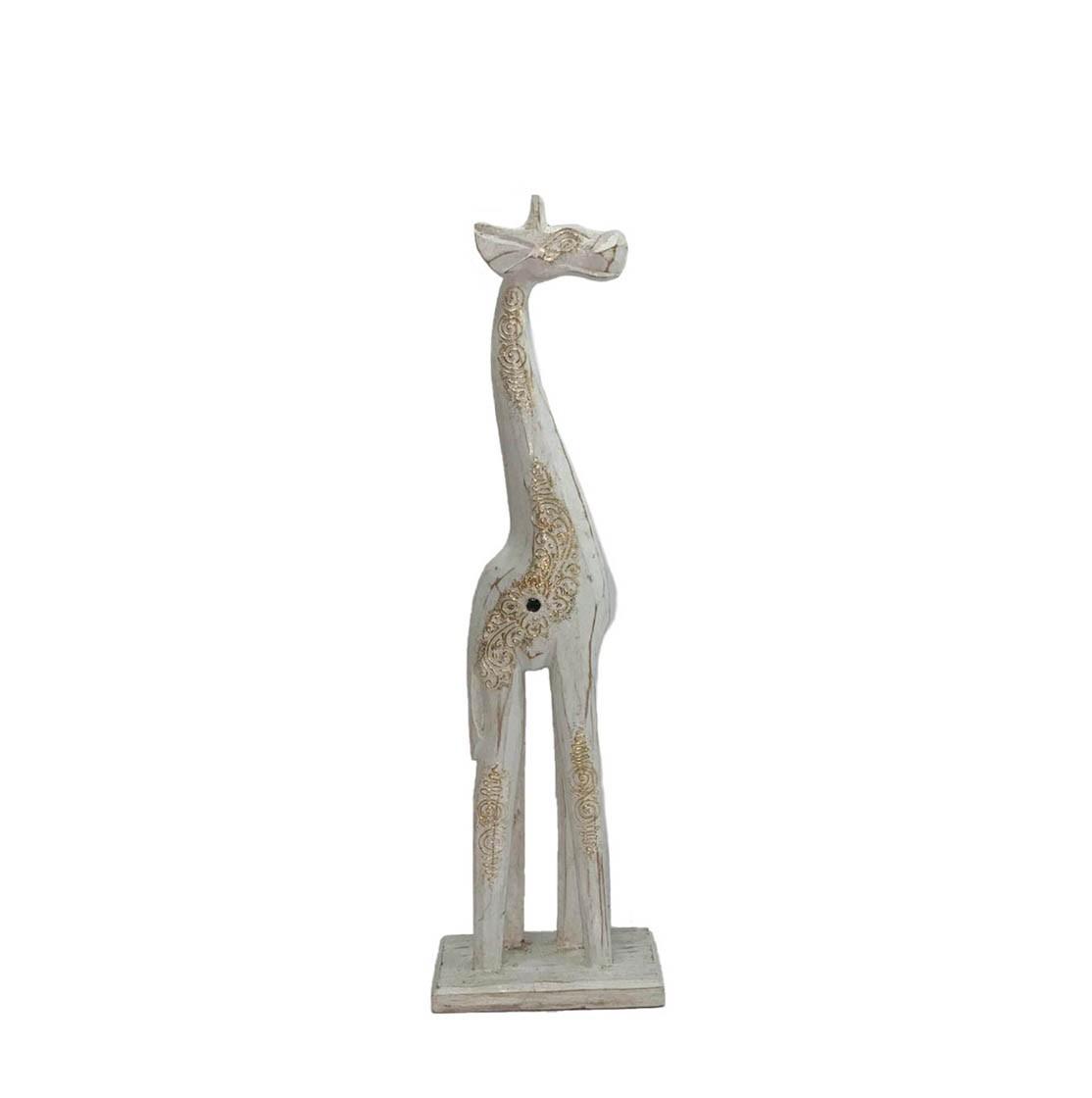 Escultura Girafa em Madeira Albésia com acabamento em Pátina Branca ( 40x7x12cm )
