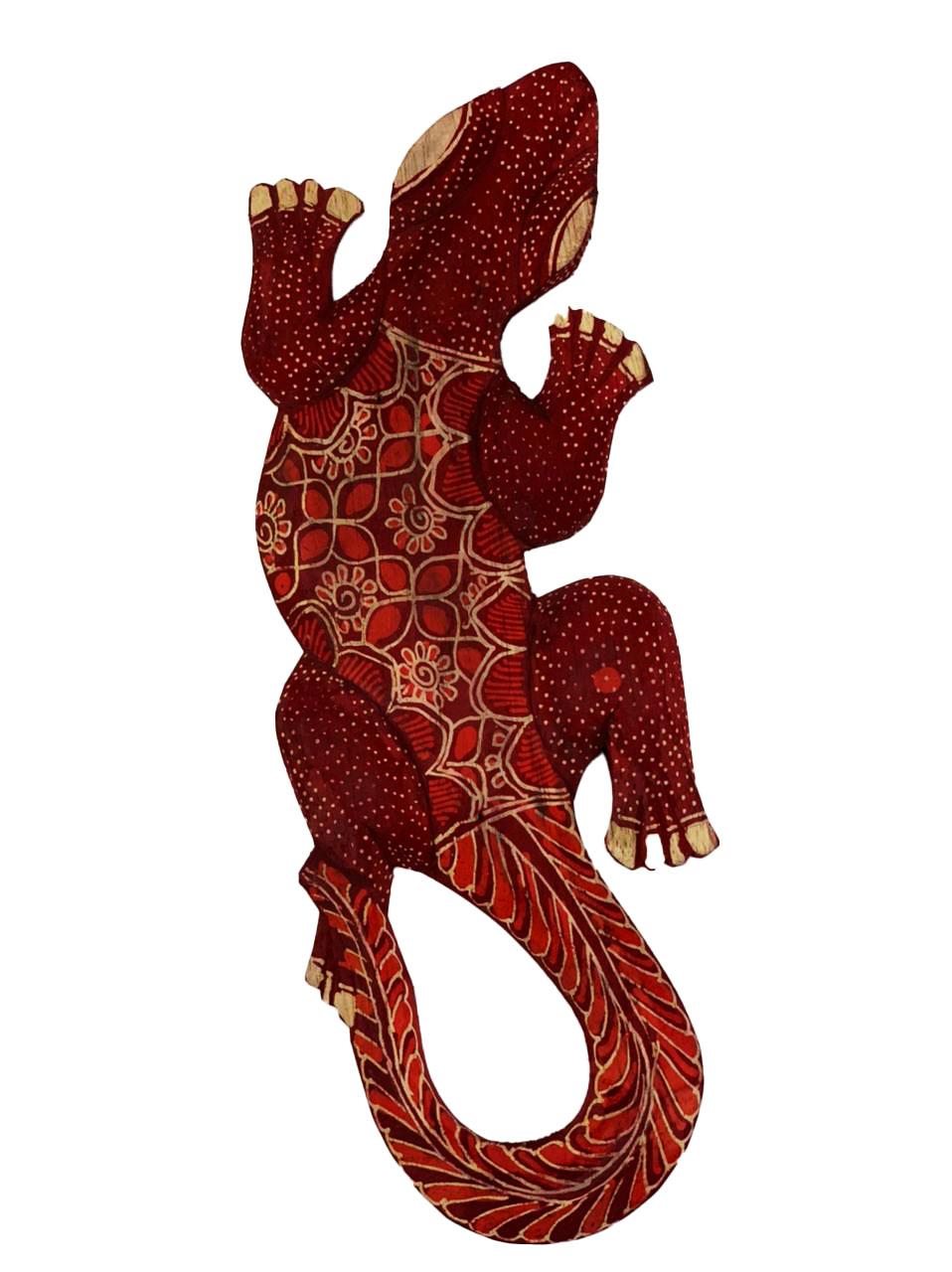 Escultura Lagarto Guecko em Madeira Albesia c/ Pintura Batik Vermelha (30cm)