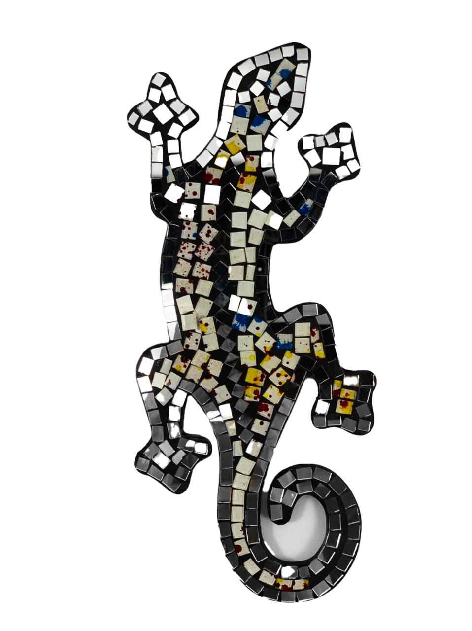 Escultura Lagarto Guecko em Madeira Albesia em Branco, Colorido e Espelho (30cm)