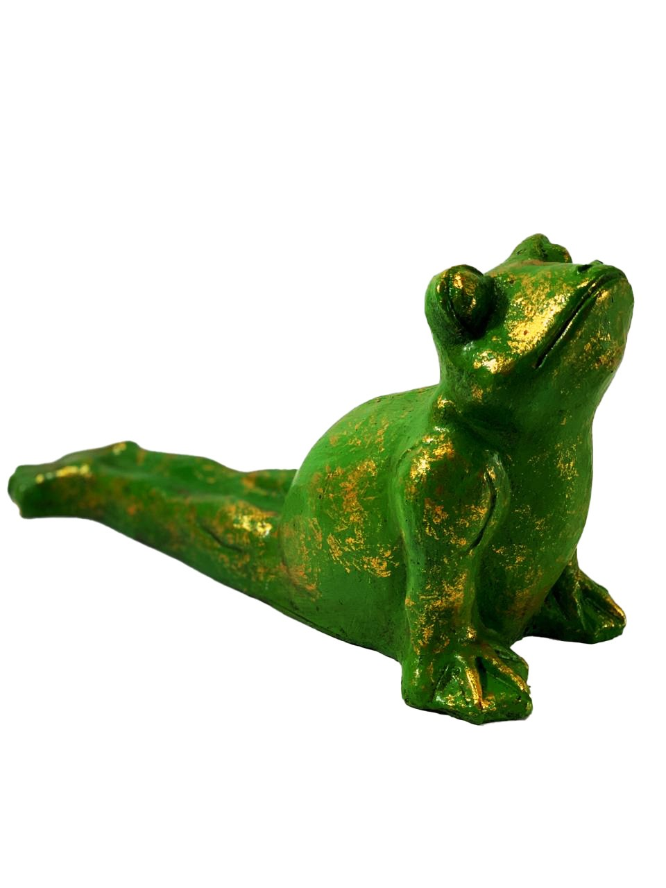 Escultura Sapo Ioga em Resina - Verde e Dourado ( 36cm )