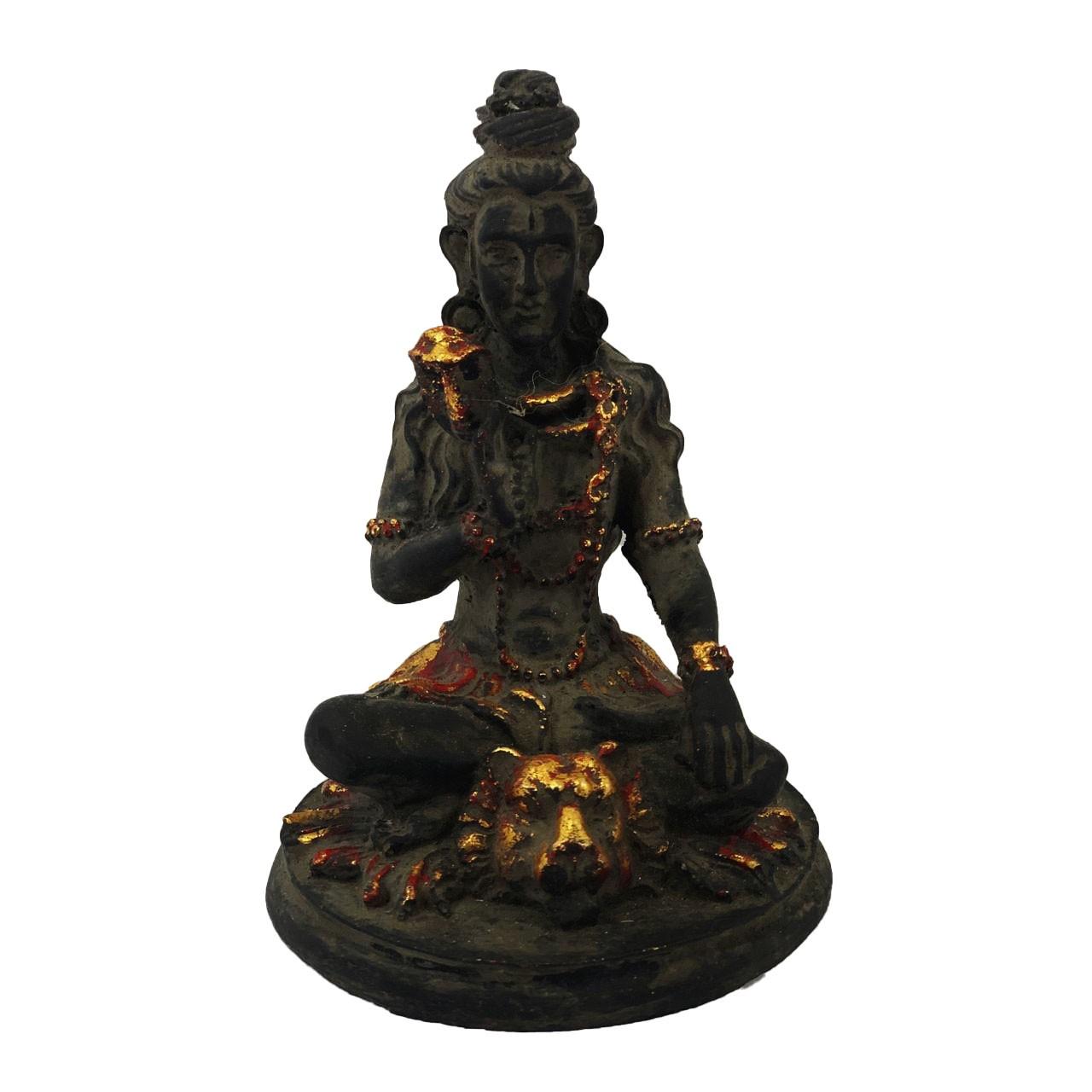 Escultura Shiva em Resina (Preto e Dourado) - ( 14cm )