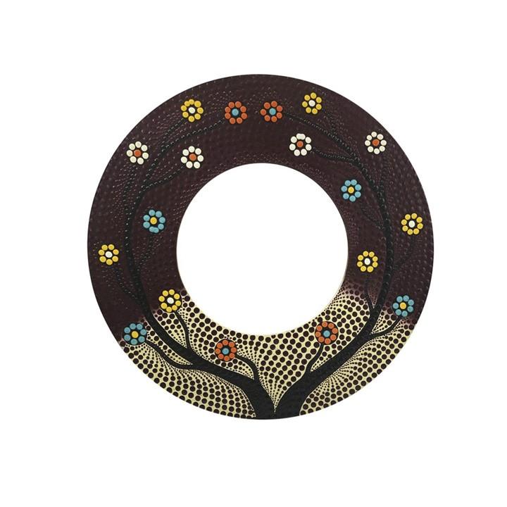 Espelho c/ Pintura Pontilhismo  - Árvore da Vida com Flores e Fundo Vinho ( 40 cm )