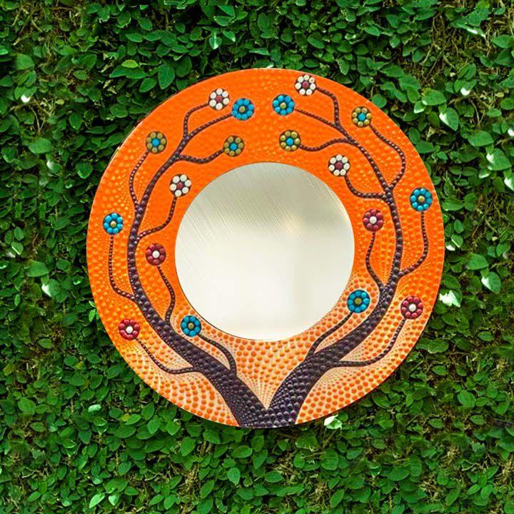 Espelho c/ Pintura Pontilhismo  - Árvore da Vida [Preto e Branco ou Colorido]