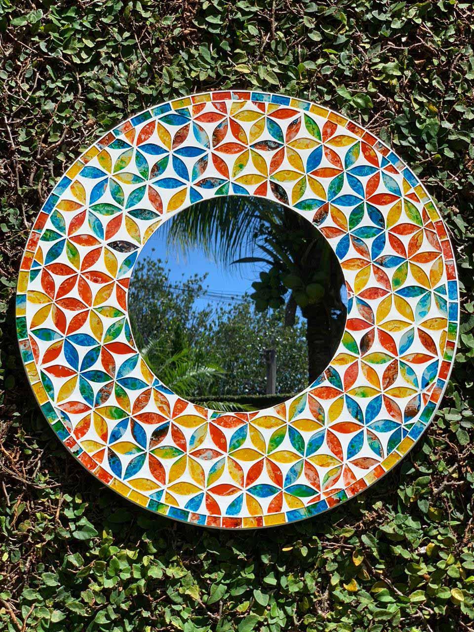 Espelho com Mosaico Floral em Vidro Colorido [ 50/60/80/100 cm ]