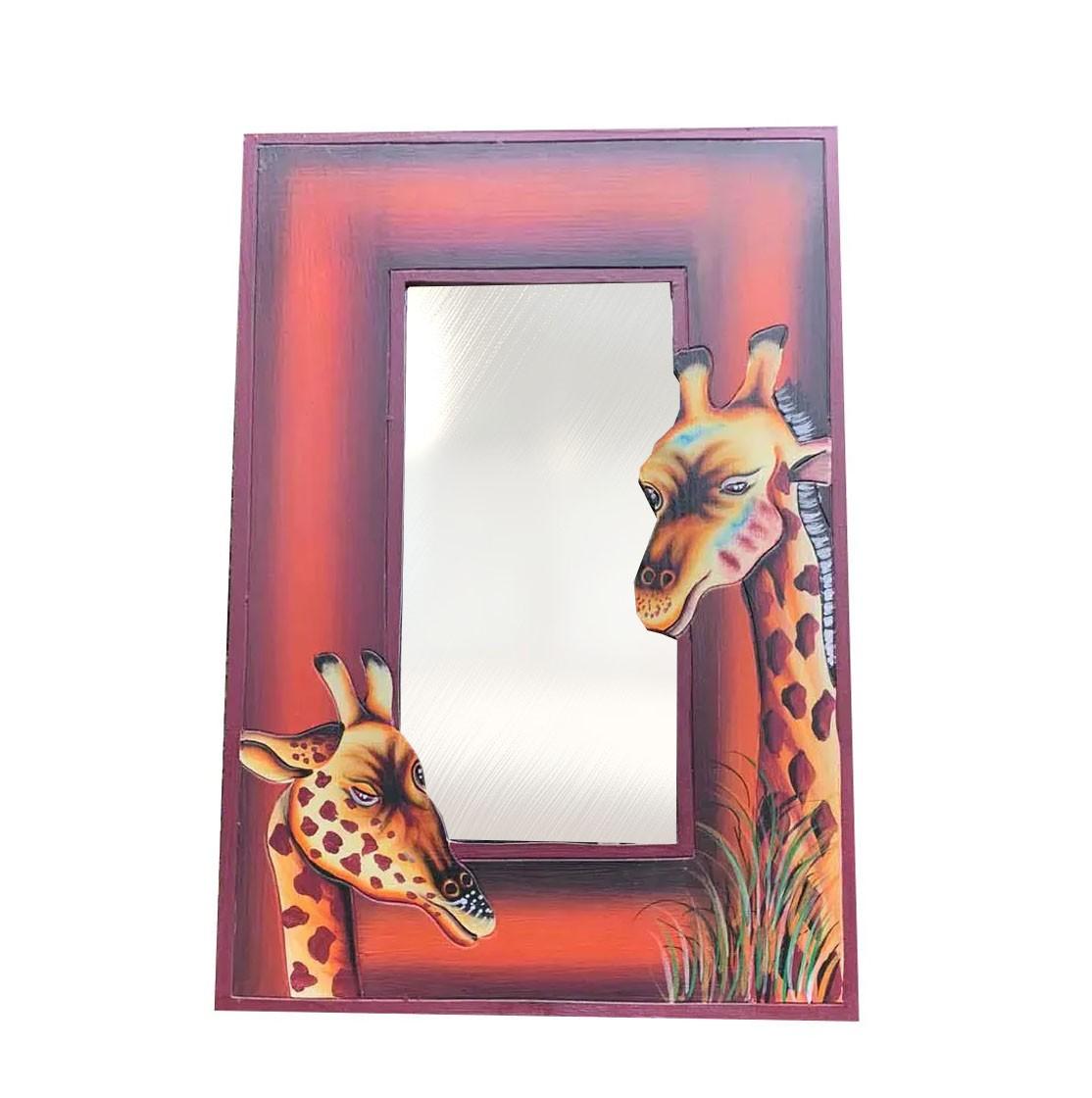 Espelho de Girafa em MDF com pintura de Girafas (60x40cm)