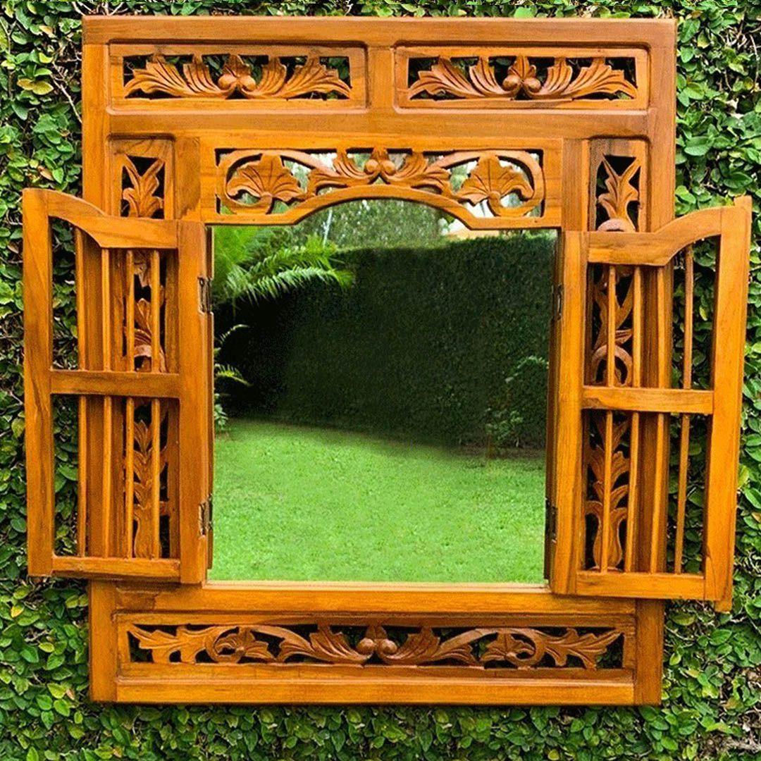 Espelho em Formato de Janela em Madeira Teca ( 70x60cm )