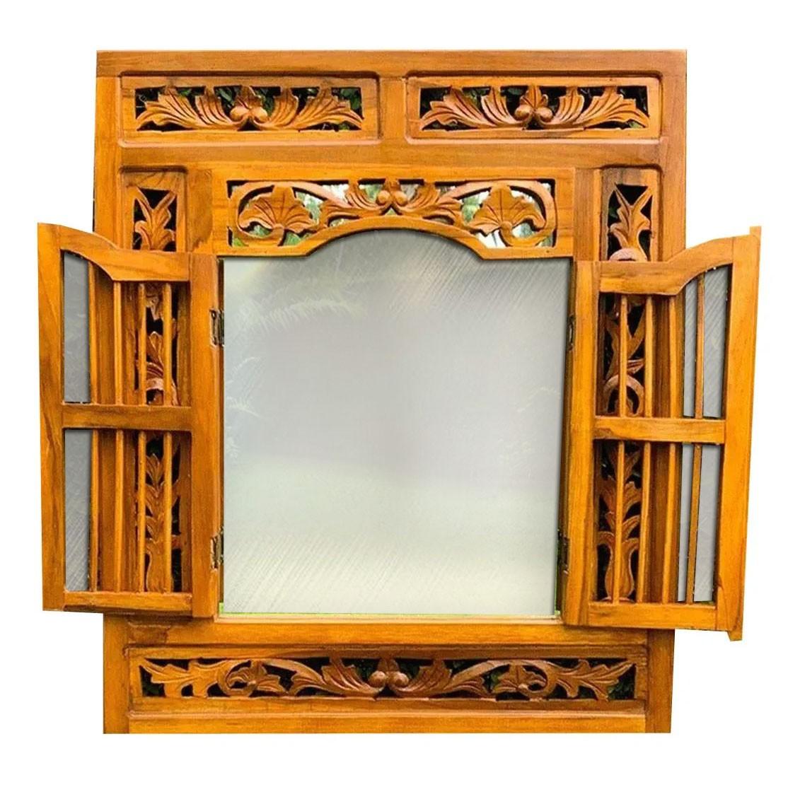 Espelho em Formato de Janela em Madeira Teca (70x60cm)