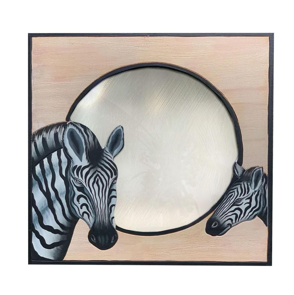 Espelho em MDF com bordas em Bege e Pintura de Zebras ( 60x60cm )