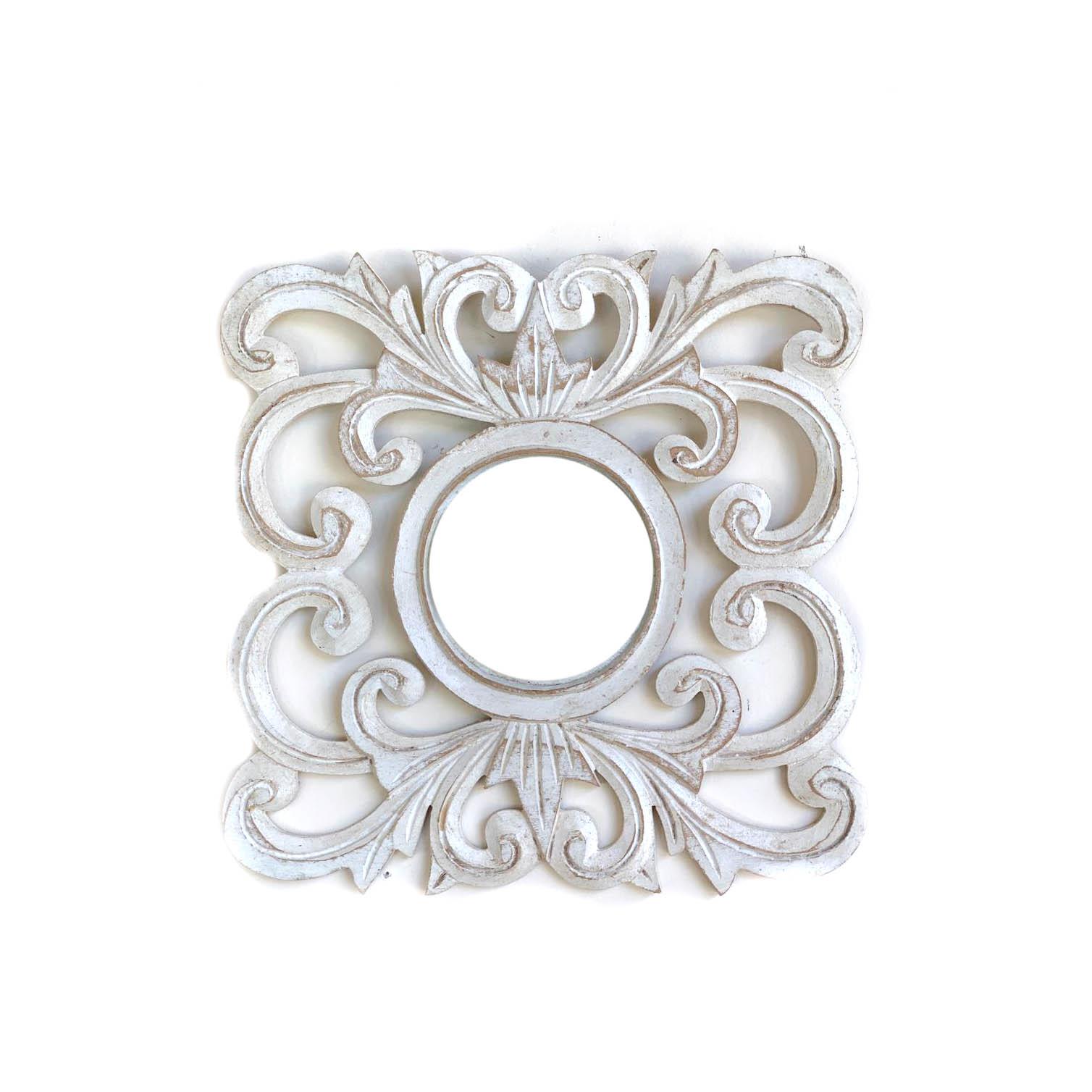 Espelho em MDF com Ornamentos e Pintura em Pátina ( 30cm )