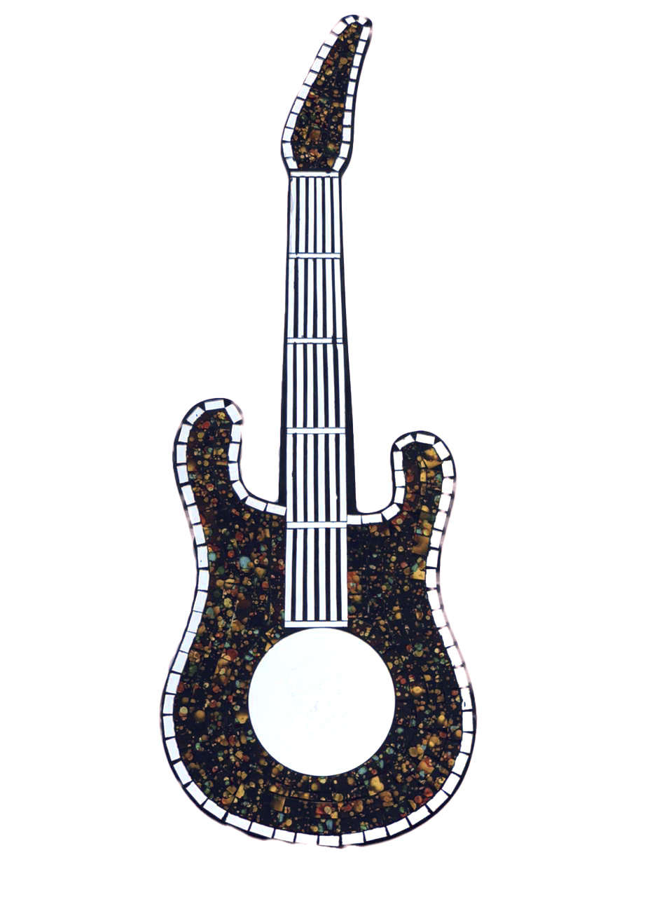 Espelho em Mosaico - Guitarra ( Marrom, Verde e Dourado ) ( 80cm )
