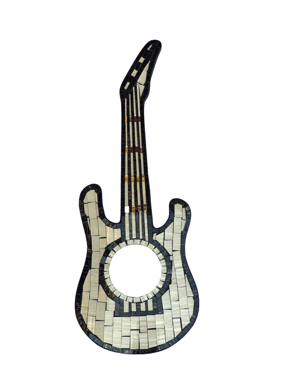 Espelho em Mosaico - Guitarra ( Preto e Branco ) ( 60cm )