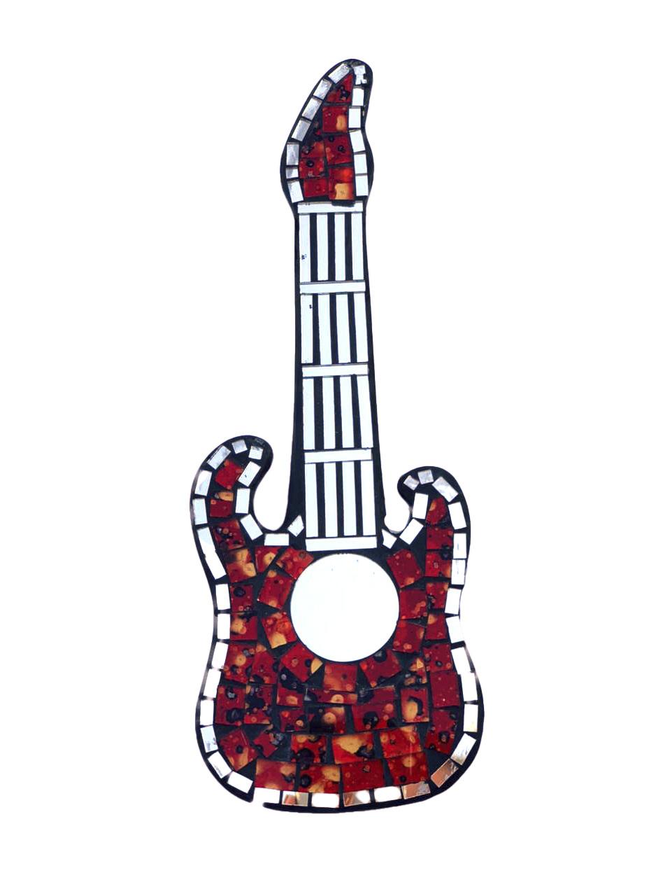 Espelho em Mosaico - Guitarra ( Vermelho, Preto e Dourado ) ( 30cm )