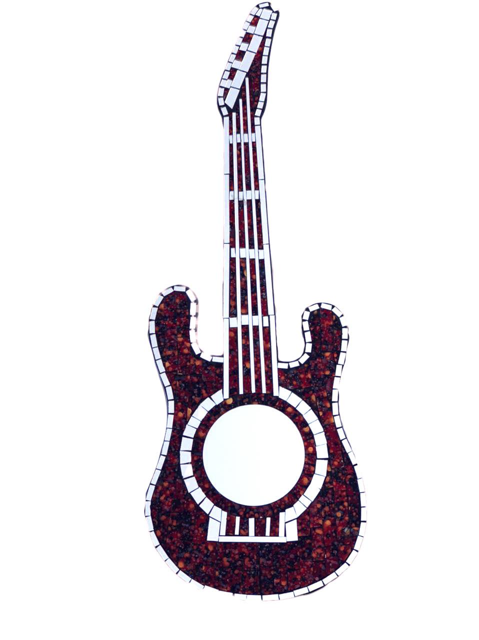 Espelho em Mosaico - Guitarra ( Vermelho, Preto e Dourado ) ( 80cm )
