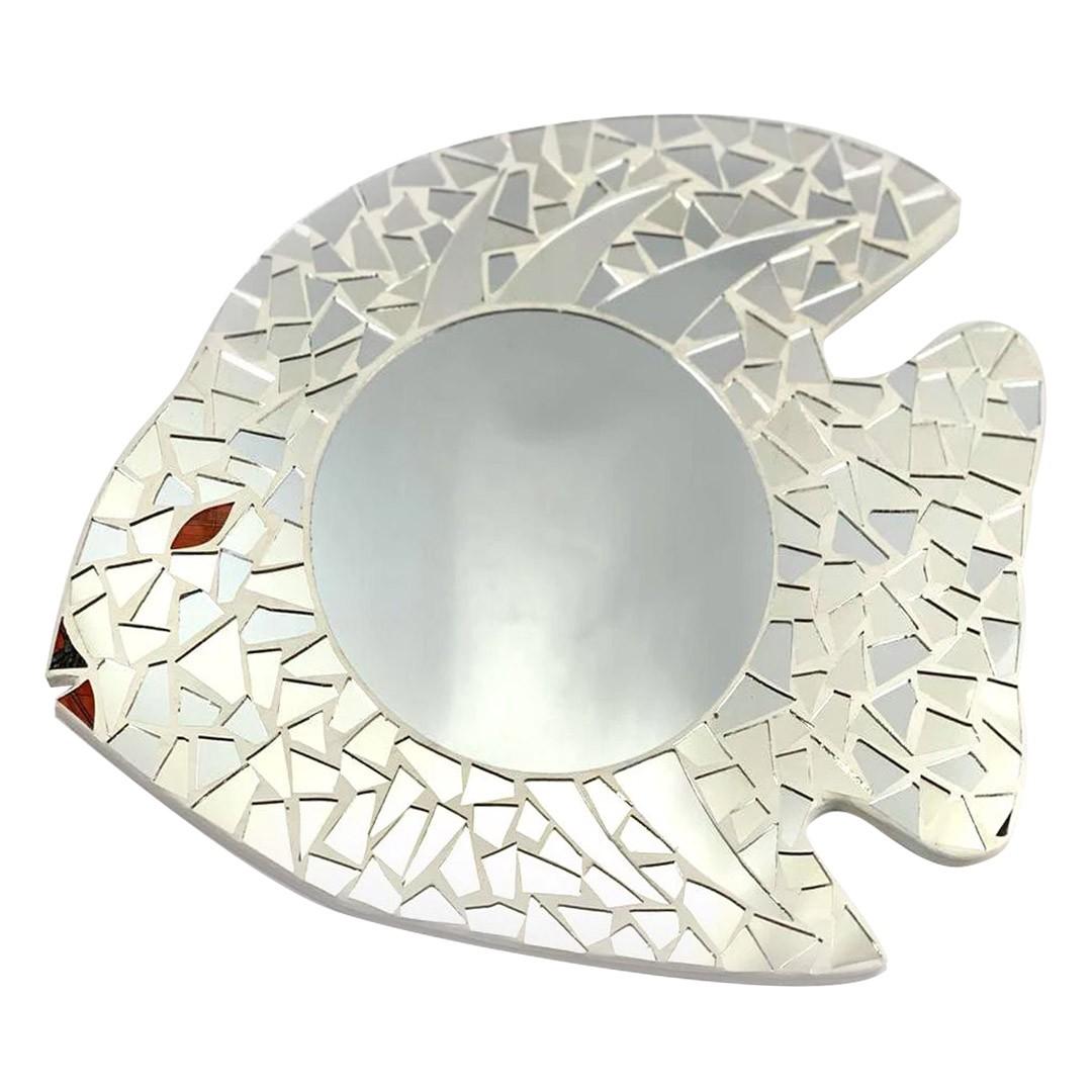 Espelho em Mosaico - Peixe com detalhes em Vidro Colorido ( 40cm )