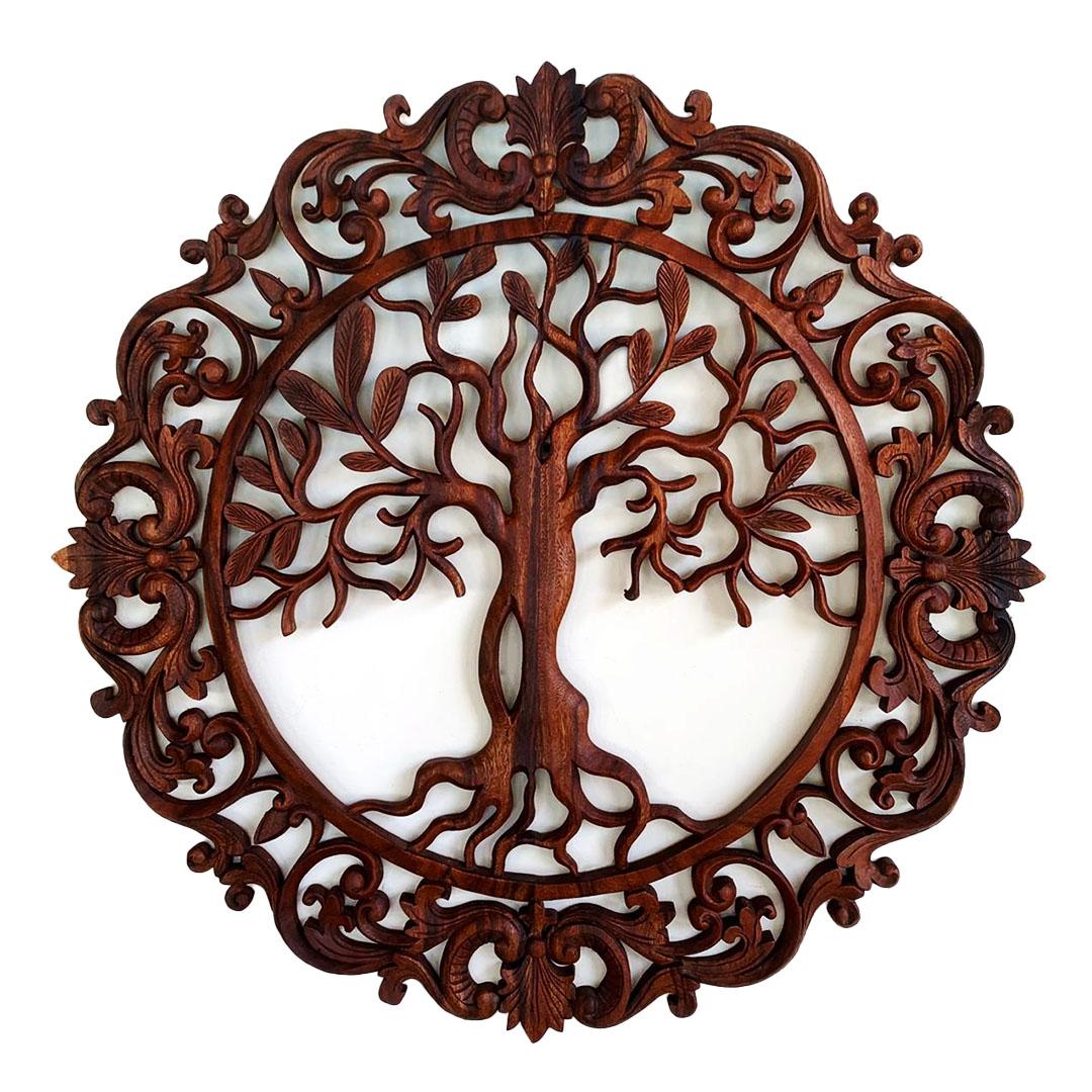 [FRETE GRÁTIS] Mandala Árvore da Vida em Madeira Suar ( 80cm )