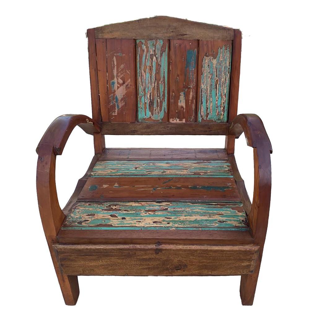 [FRETE INCLUSO] Cadeira Madeira de Demolição de Canoa (56x56x78cm)