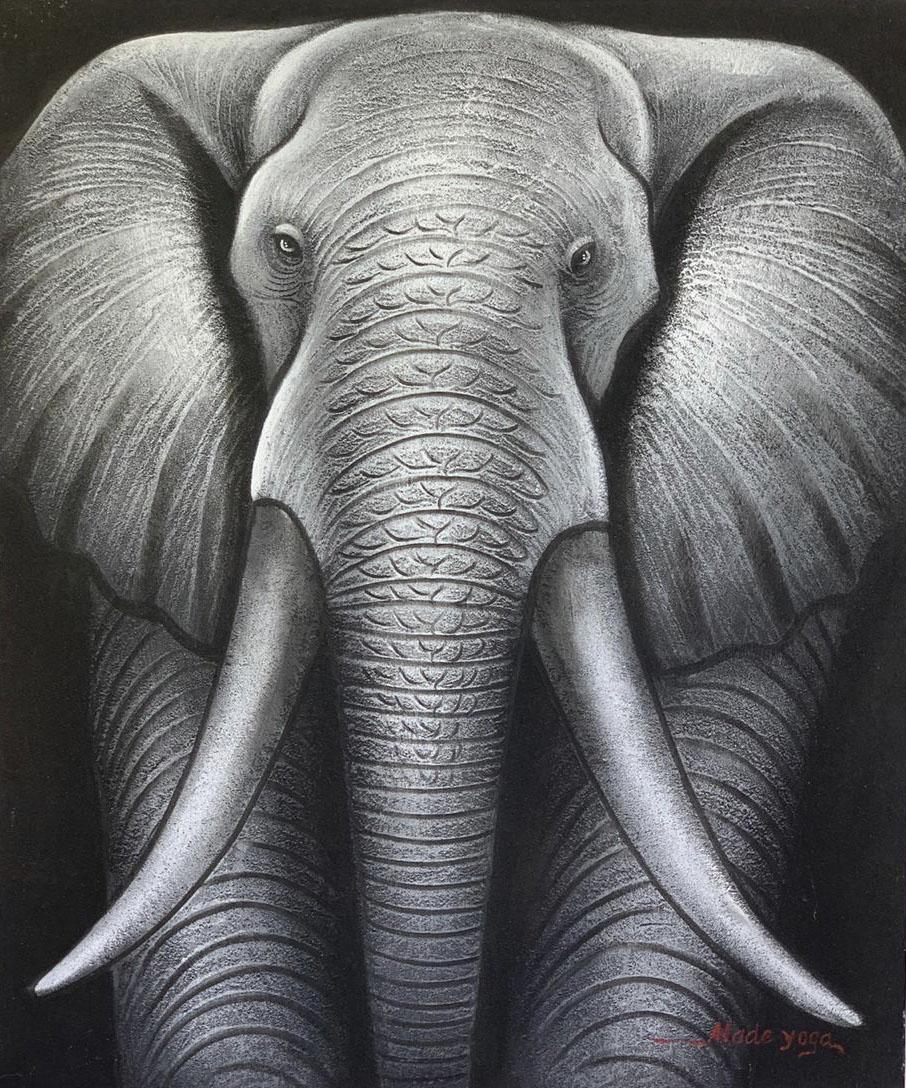 ( FRETE INCLUSO ) - Pintura em Tela - Elefante (100x120)