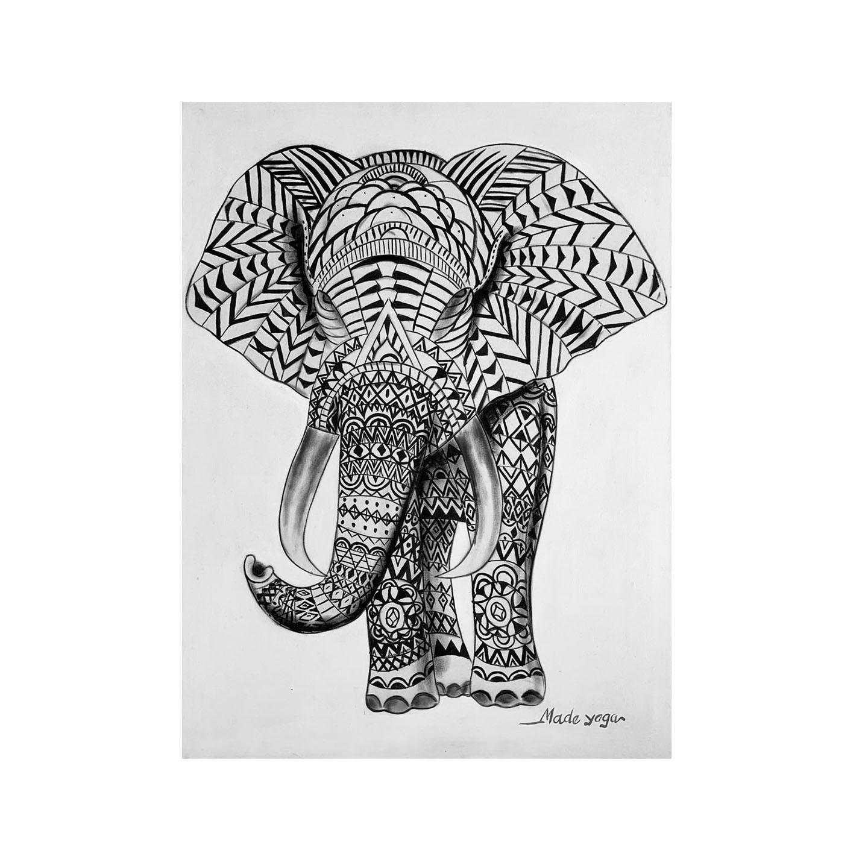 ( FRETE INCLUSO ) - Pintura em Tela - Elefante Estilizado em Preto e Branco (60x80)