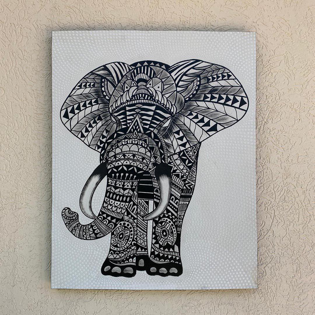( FRETE INCLUSO ) - Pintura em Tela - Elefante Preto e Branco (70x90)