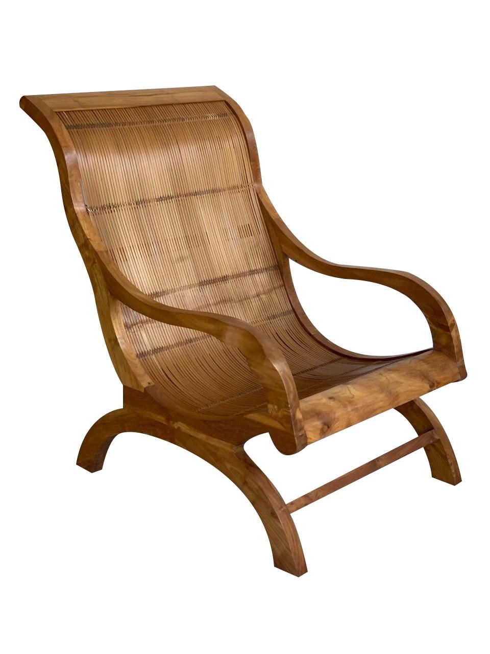 [FRETE INCLUSO] Poltrona modelo Lazy Chair em Madeira Teca com Ripas de Bambu ( 65x80x94cm )