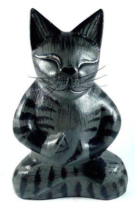 Escultura Gato Ioga em Madeira Suar (Preto) (20cm)