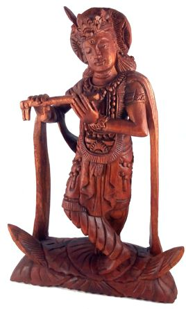 Escultura Krishina em Madeira Suar ( 17x22x7 cm )