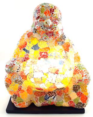 Luminária Buda Maitreya Meditando - Mosaico em Vidro Multicolorido (16x32cm)