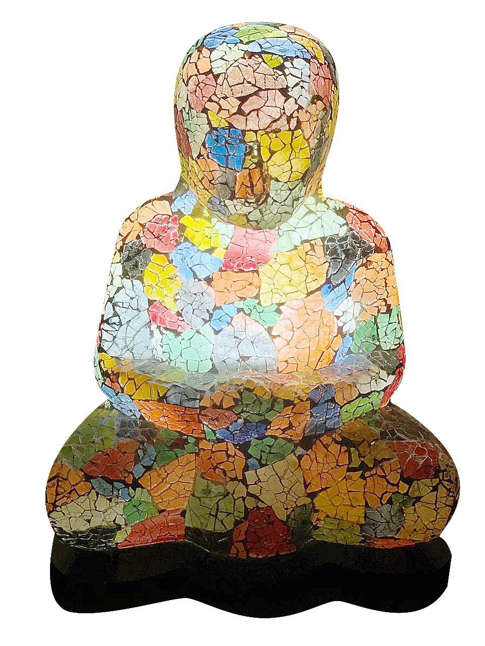 Luminária Buda Sidartha Meditando - Mosaico em Vidro Multicolorido (27x40x38cm)