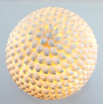 Luminária Mosaico - Conchas Naturais (22x22cm)