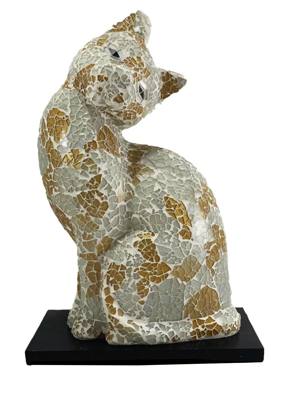 Luminária Gato em Resina e Mosaico Branco e Dourado ( 35cm )