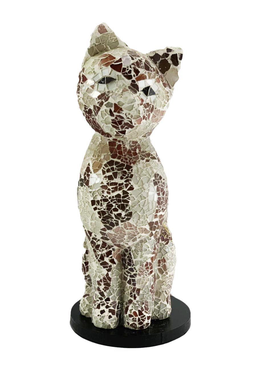 Luminária Gato em Resina e Mosaico Marrom e Branco ( 35cm )