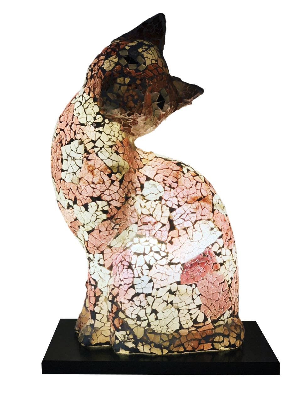 Luminária Gato em Resina e Mosaico Marrom, Salmão e Branco ( 35cm )
